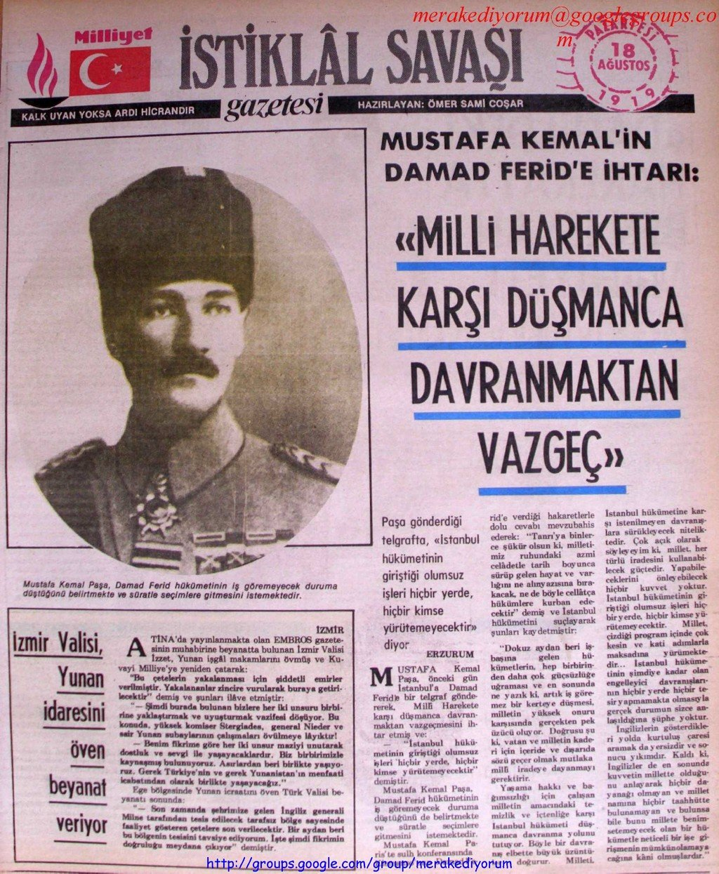 istiklal savaşı gazetesi - 18 ağustos 1919