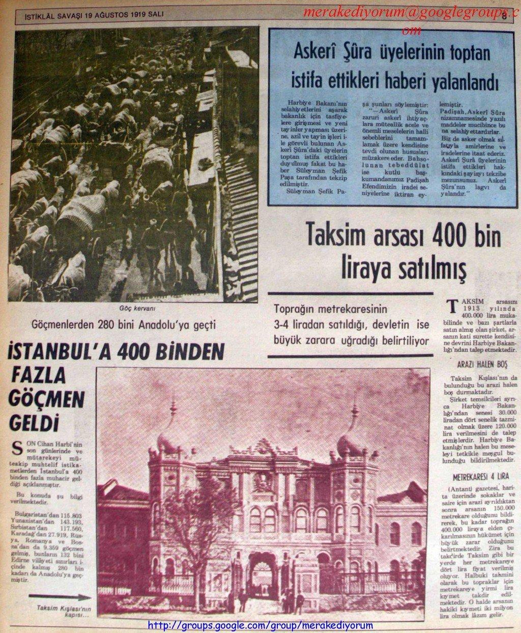 istiklal savaşı gazetesi - 19 ağustos 1919