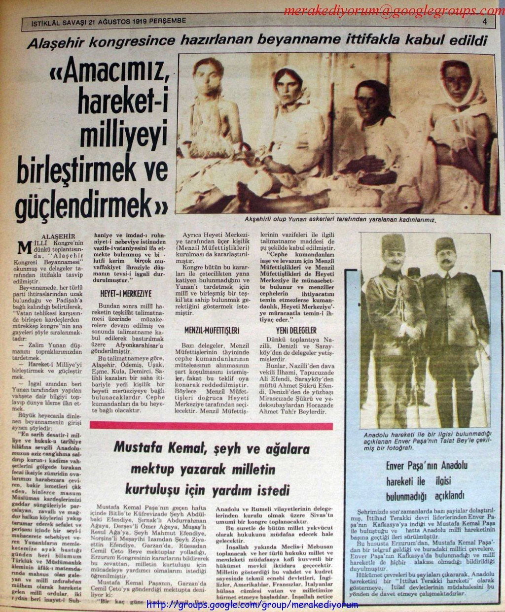 istiklal savaşı gazetesi - 21 ağustos 1919