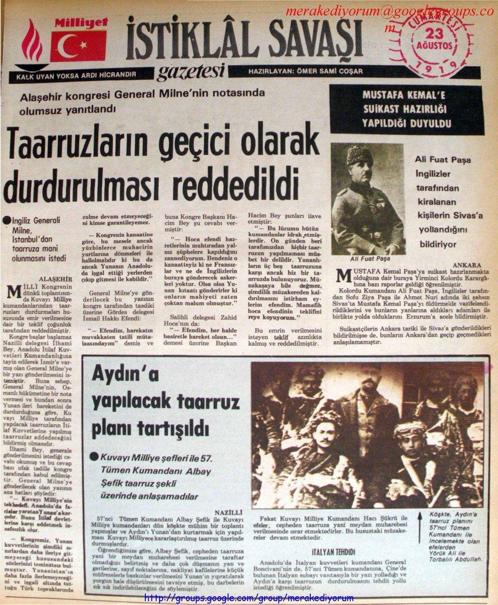 istiklal savaşı gazetesi - 23 ağustos 1919