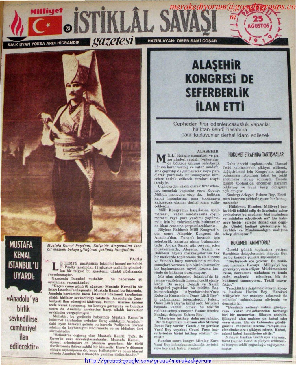 istiklal savaşı gazetesi - 25 ağustos 1919