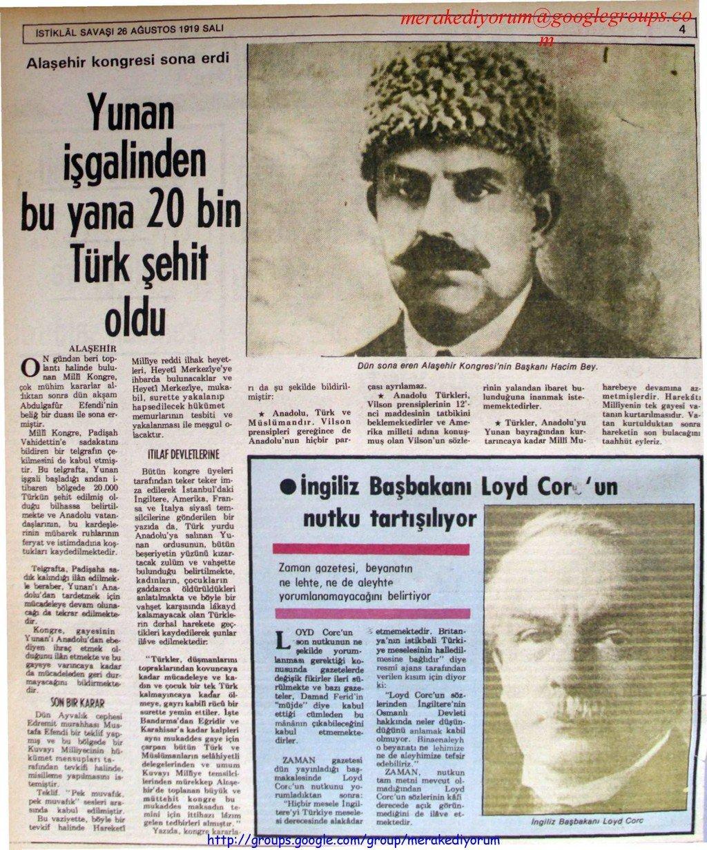 istiklal savaşı gazetesi - 26 ağustos 1919