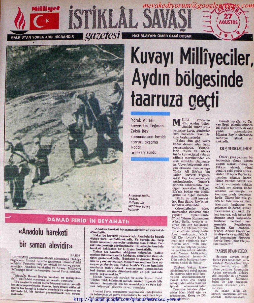 istiklal savaşı gazetesi - 27 ağustos 1919
