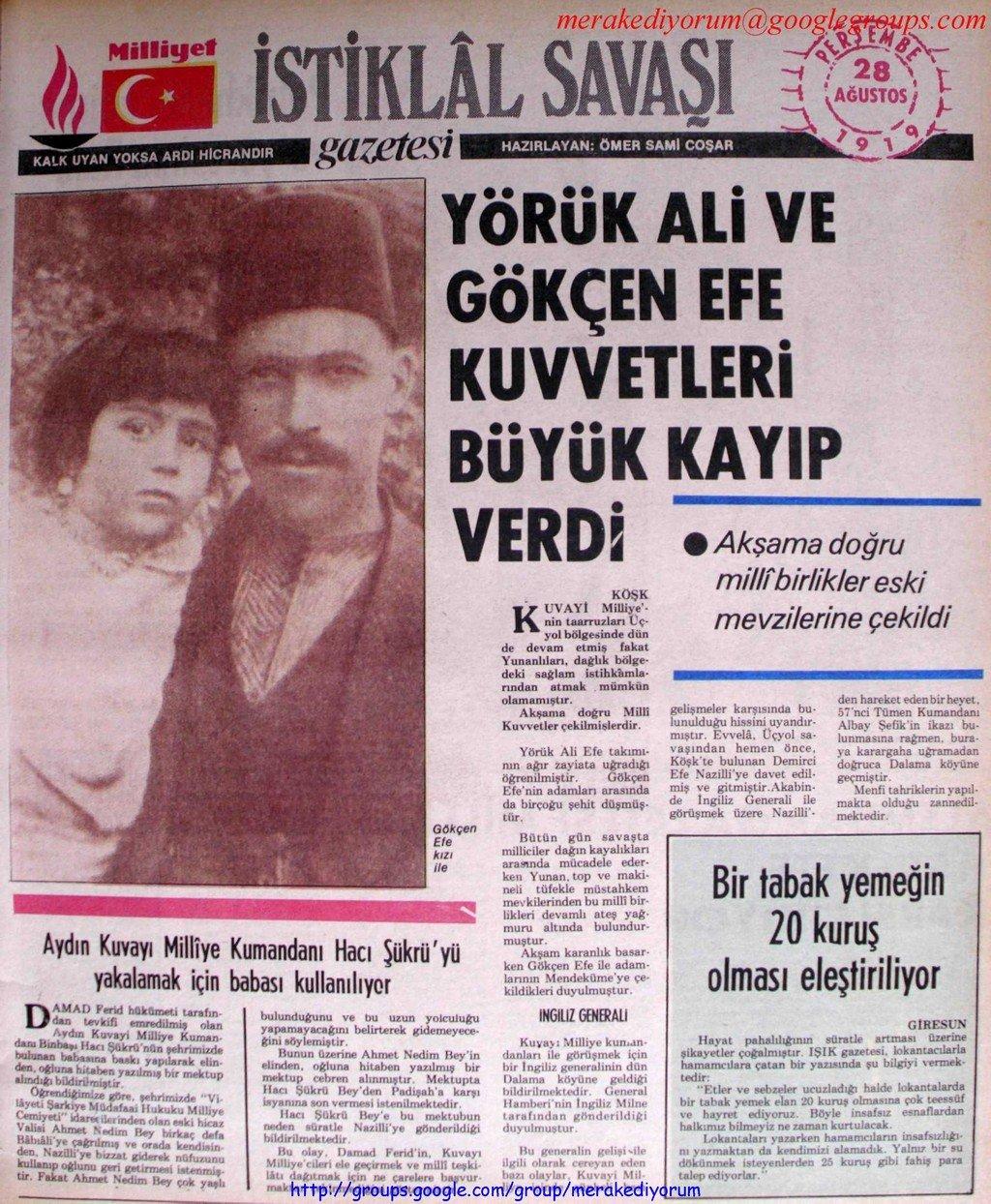 istiklal savaşı gazetesi - 28 ağustos 1919