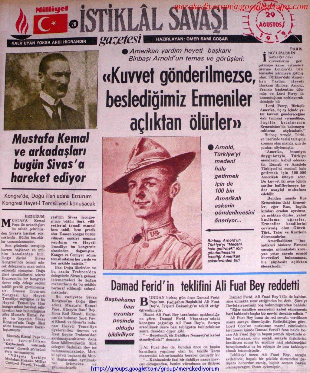 istiklal savaşı gazetesi - 29 ağustos 1919
