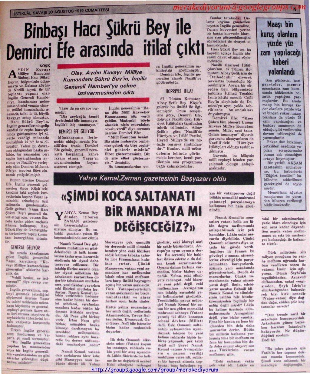 istiklal savaşı gazetesi - 30 ağustos 1919