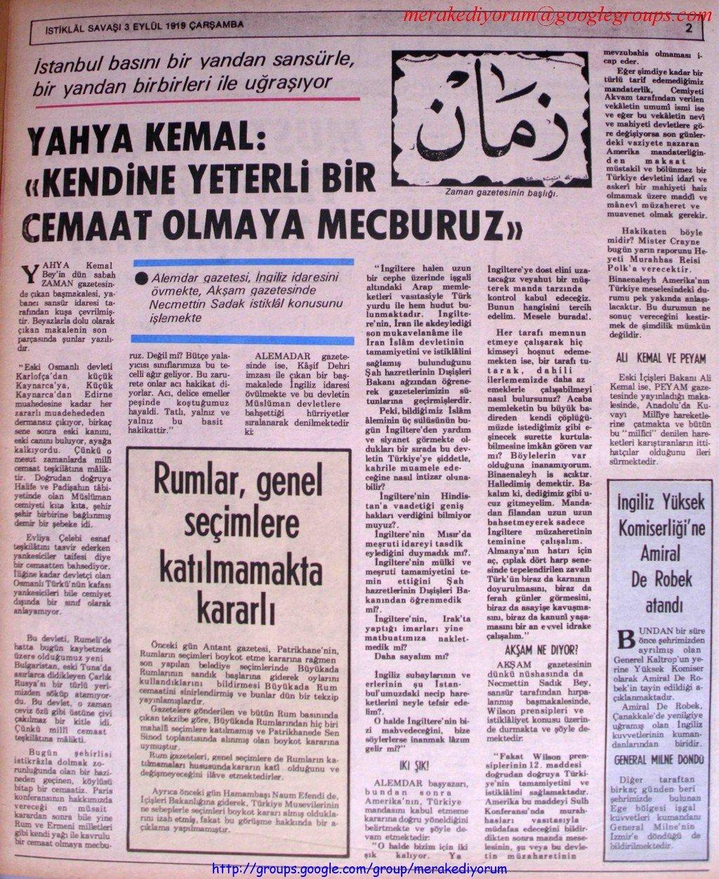 istiklal savaşı gazetesi - 3 eylül 1919