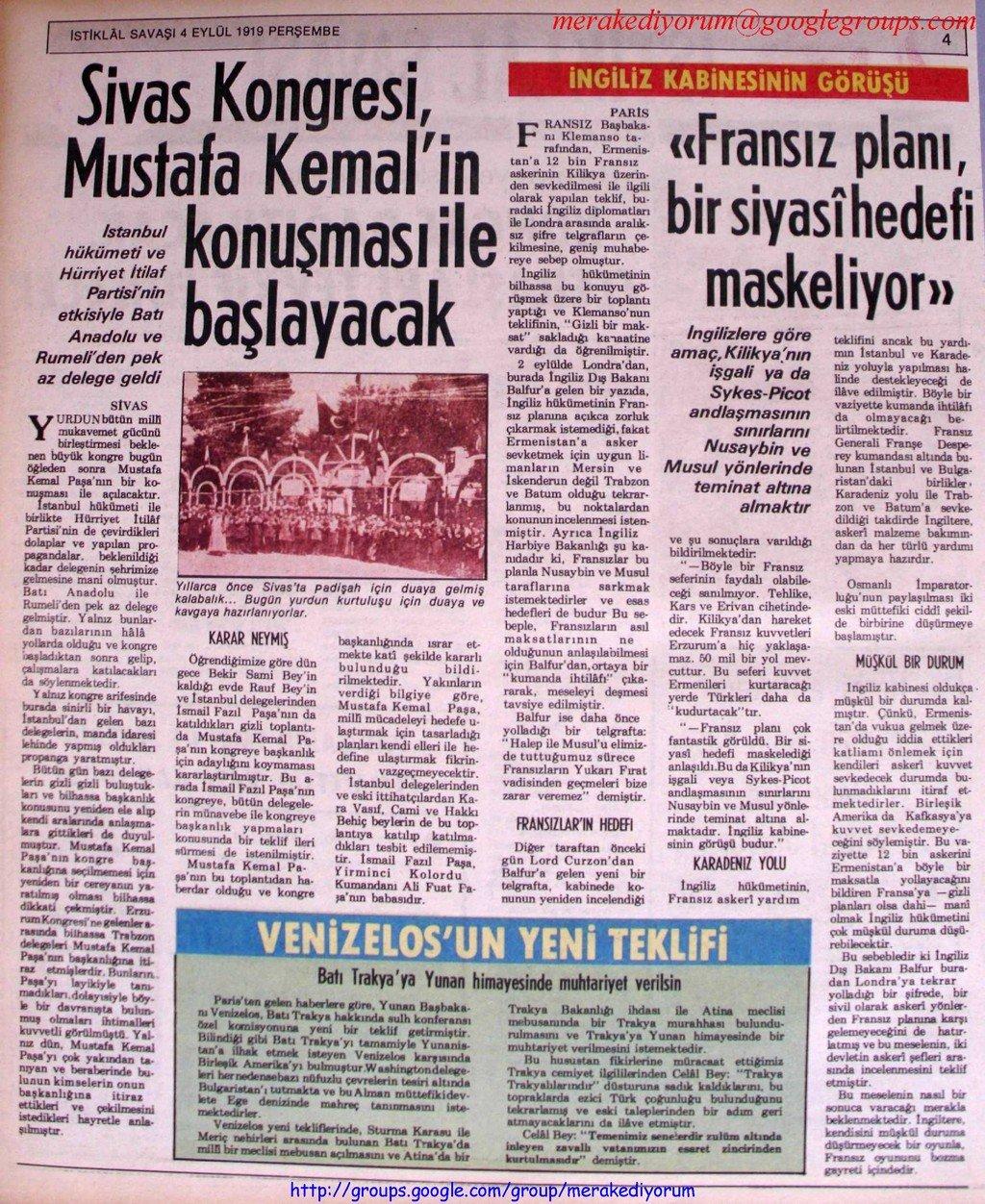 istiklal savaşı gazetesi - 4 eylül 1919