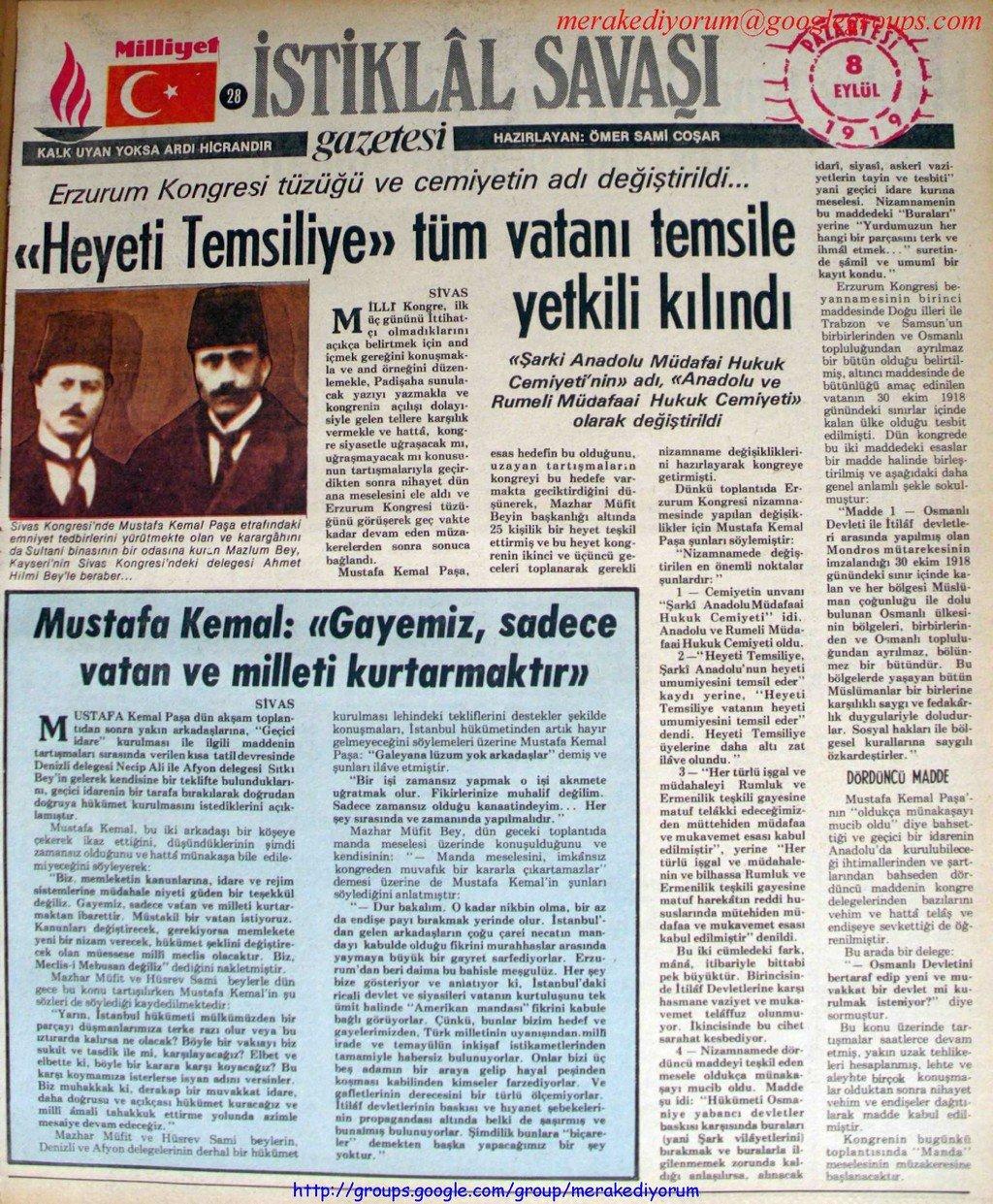 istiklal savaşı gazetesi - 6 eylül 1919