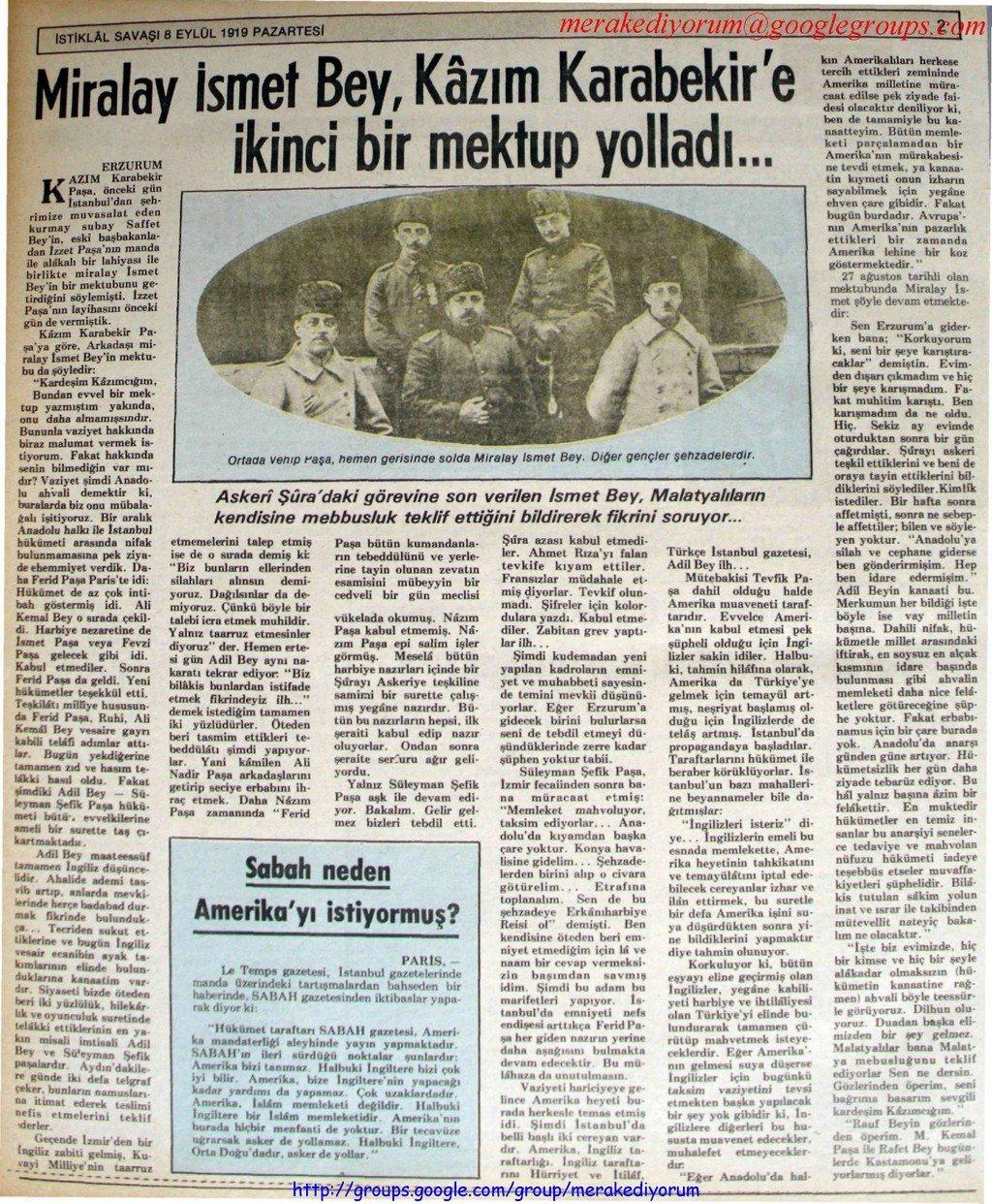 istiklal savaşı gazetesi - 8 eylül 1919