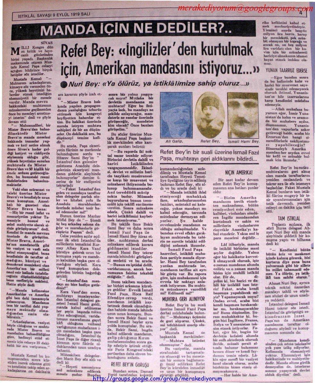 istiklal savaşı gazetesi - 9 eylül 1919