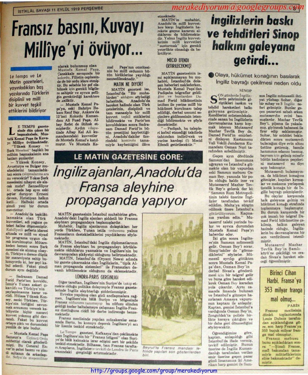 istiklal savaşı gazetesi - 11 eylül 1919