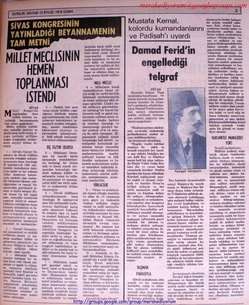 istiklal savaşı gazetesi - 12 eylül 1919