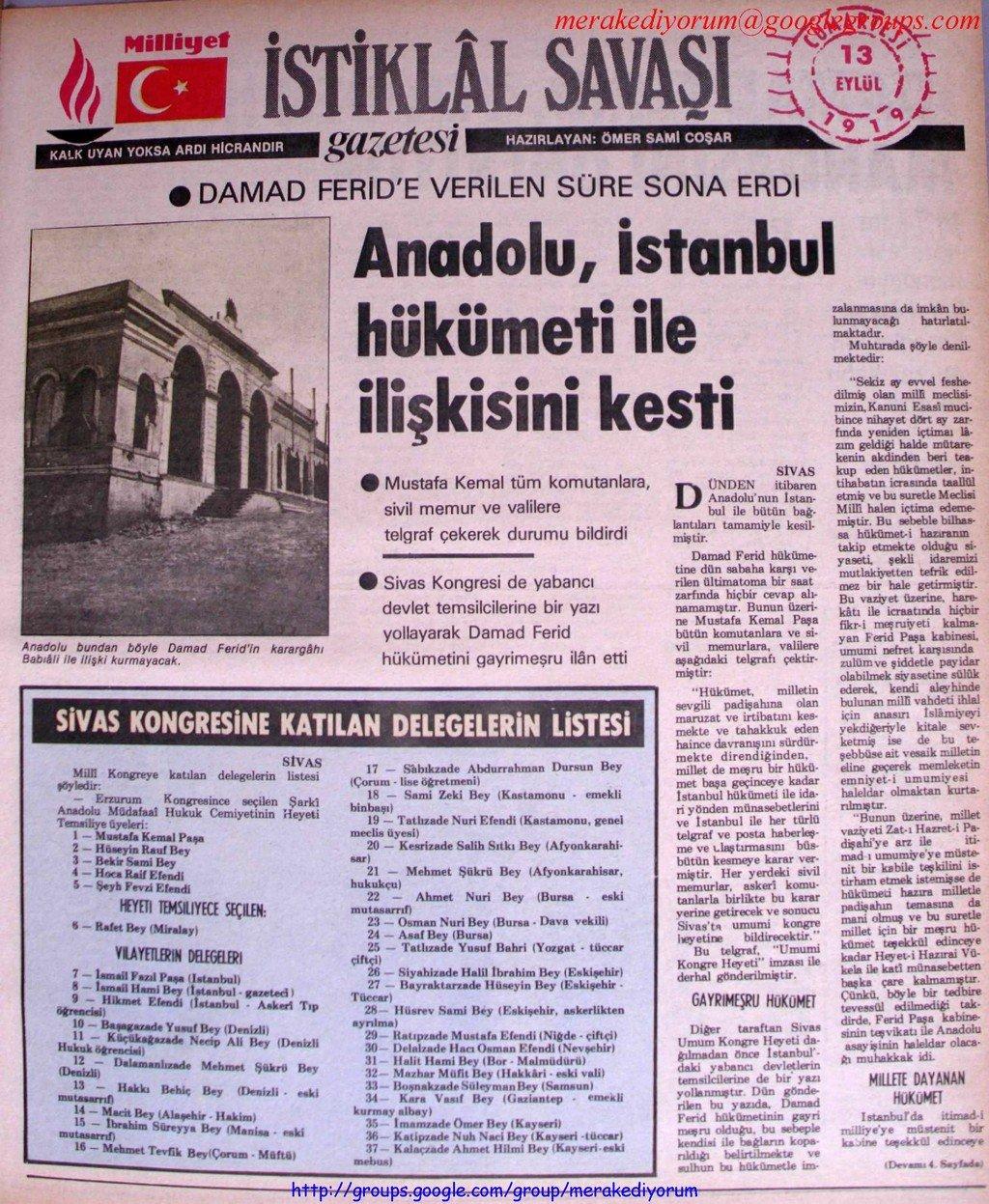 istiklal savaşı gazetesi - 13 eylül 1919