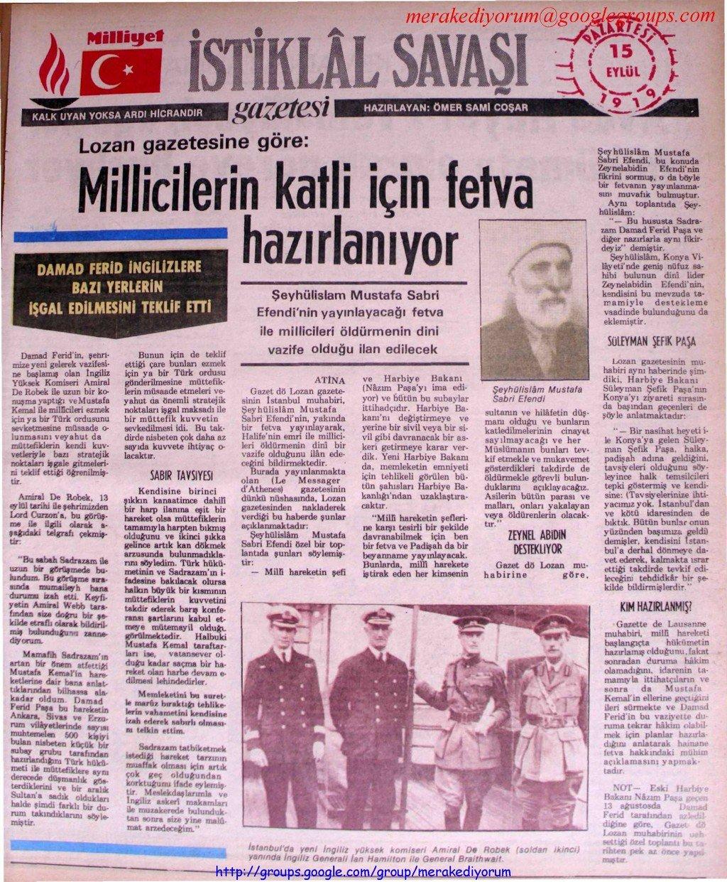 istiklal savaşı gazetesi - 15 eylül 1919