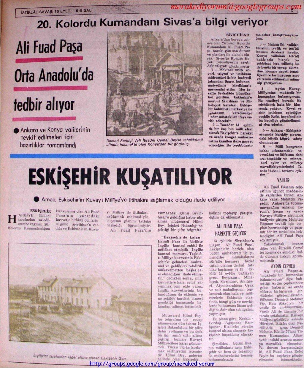 istiklal savaşı gazetesi - 16 eylül 1919