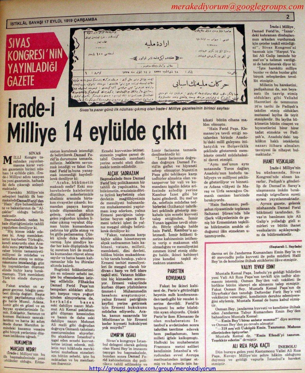 istiklal savaşı gazetesi - 17 eylül 1919