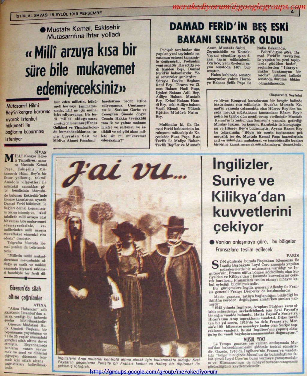 istiklal savaşı gazetesi - 18 eylül 1919
