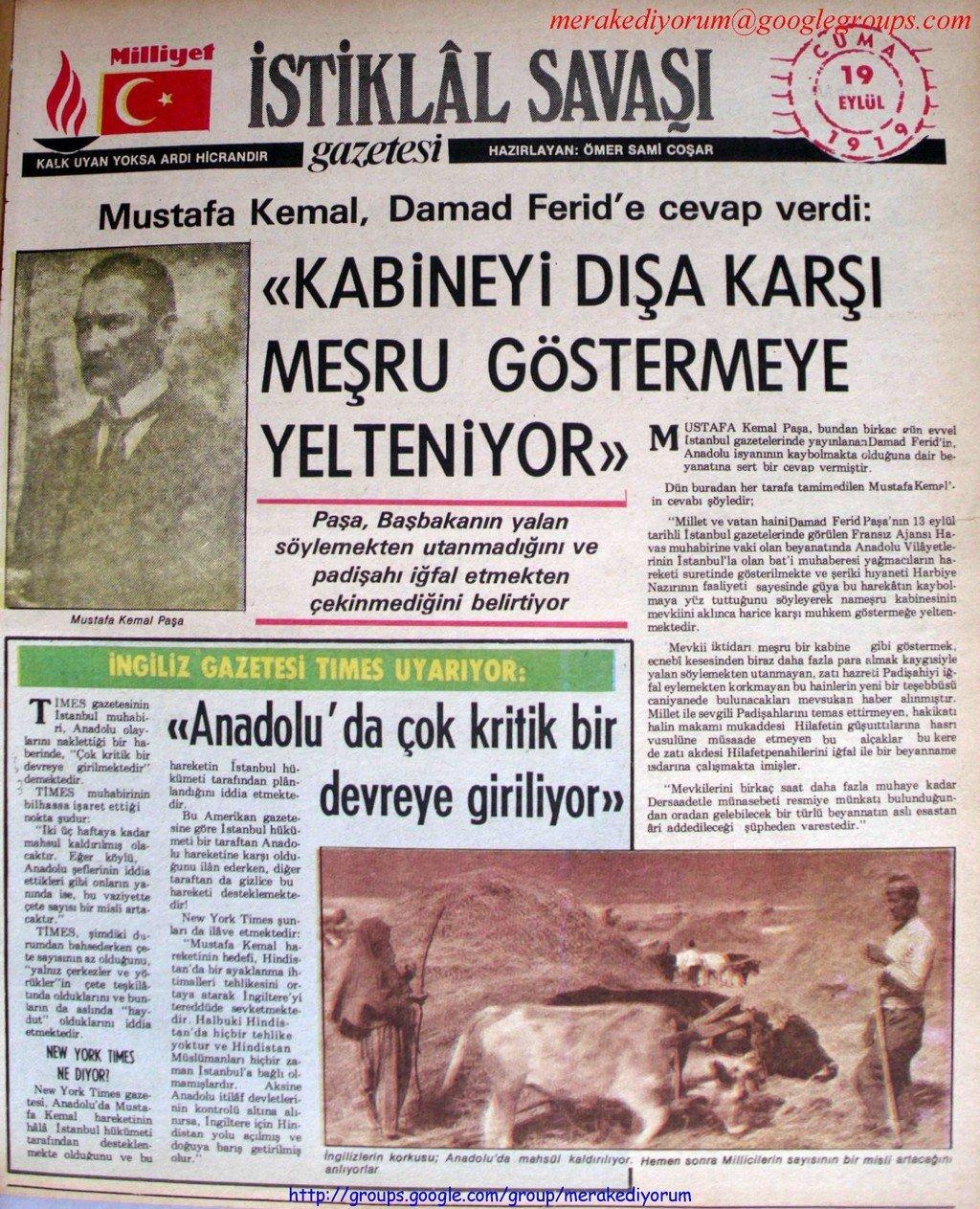 istiklal savaşı gazetesi - 19 eylül 1919