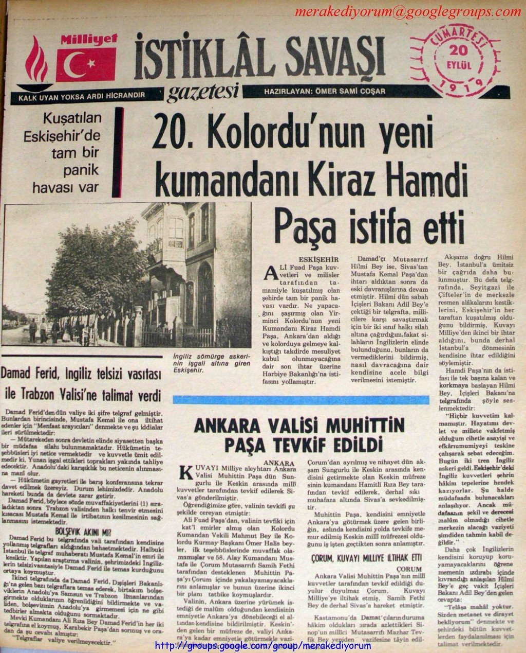 istiklal savaşı gazetesi - 20 eylül 1919