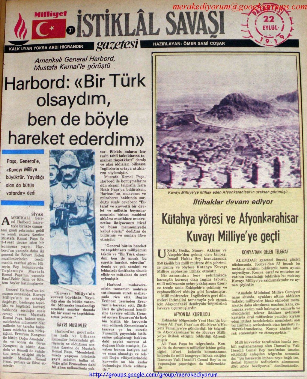 istiklal savaşı gazetesi - 22 eylül 1919