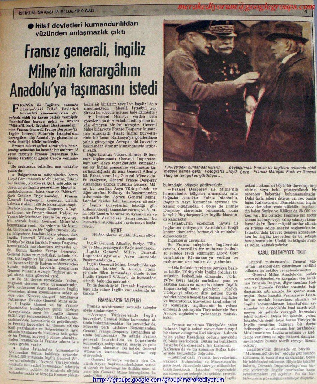 istiklal savaşı gazetesi - 23 eylül 1919