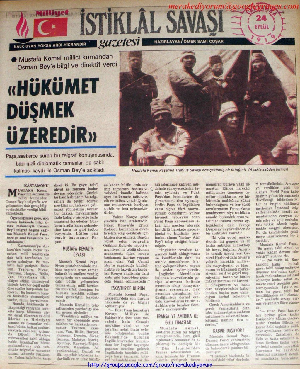 istiklal savaşı gazetesi - 24 eylül 1919