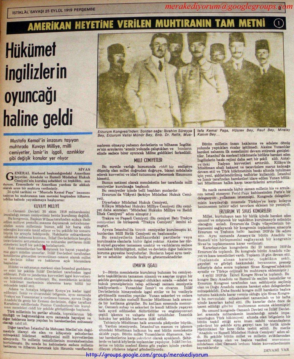 istiklal savaşı gazetesi - 25 eylül 1919