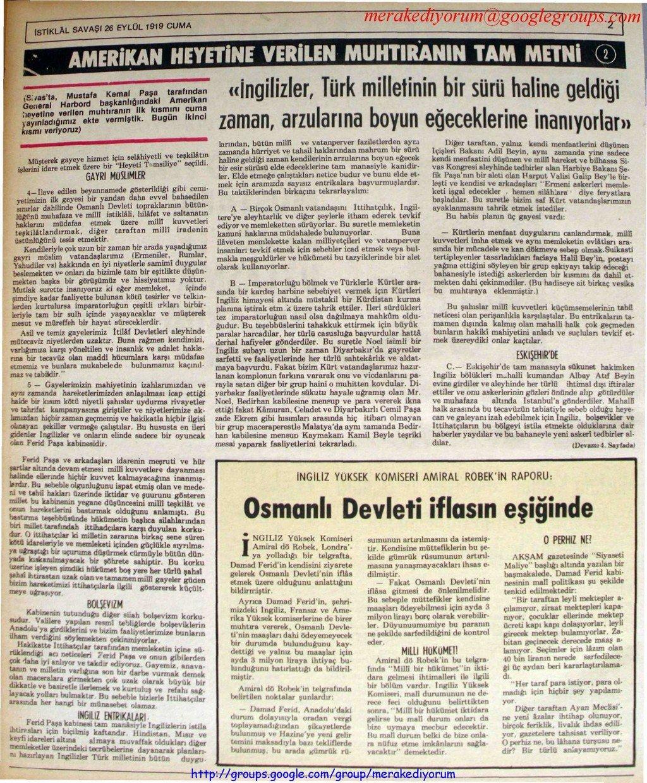 istiklal savaşı gazetesi - 26 eylül 1919
