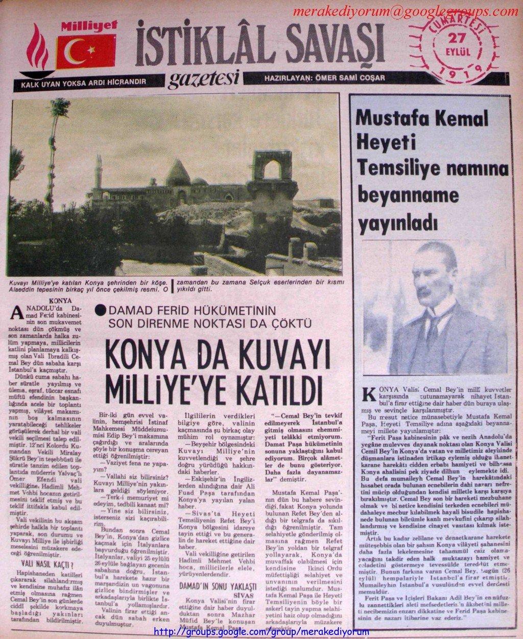 istiklal savaşı gazetesi - 27 eylül 1919