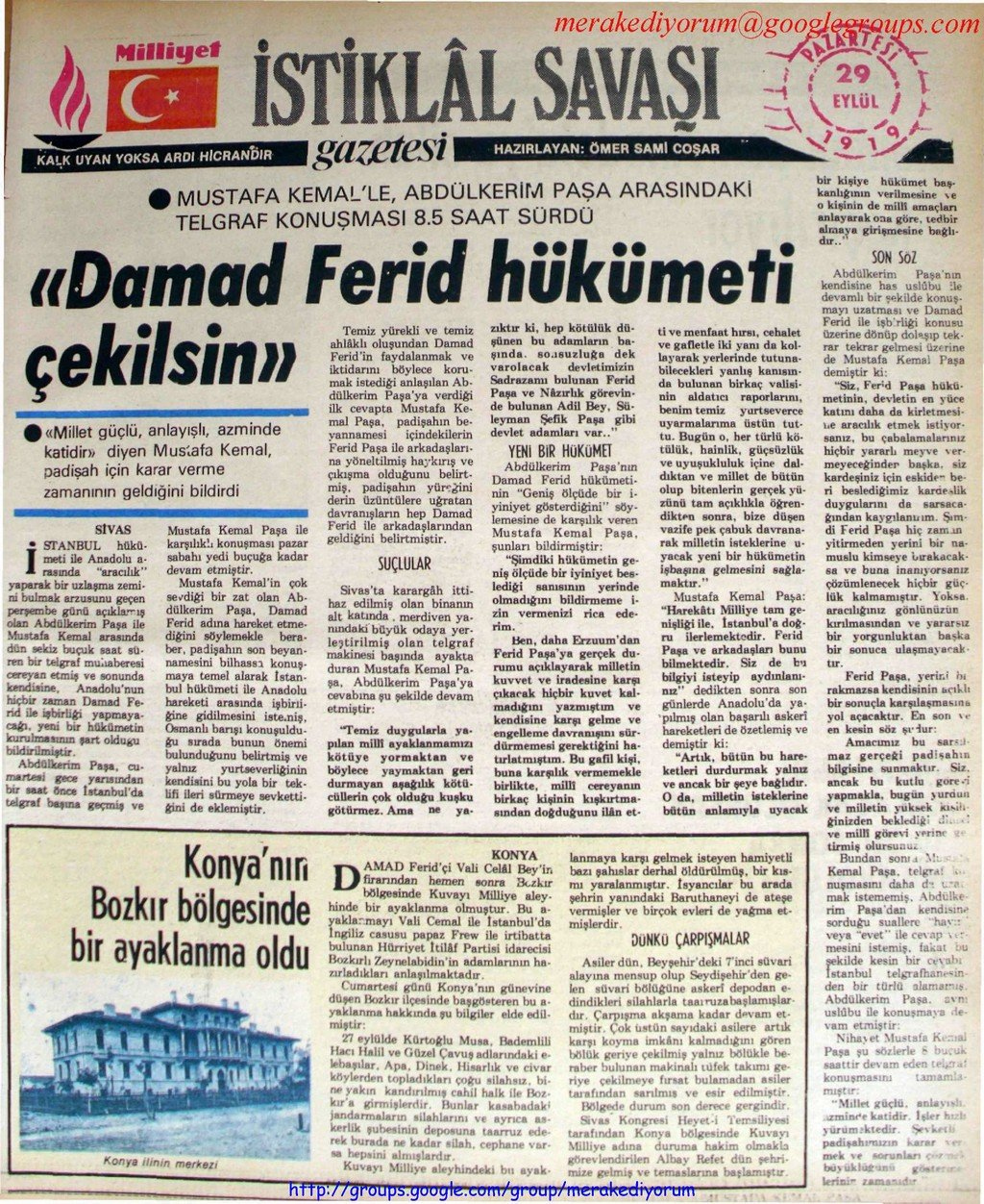istiklal savaşı gazetesi - 29 eylül 1919