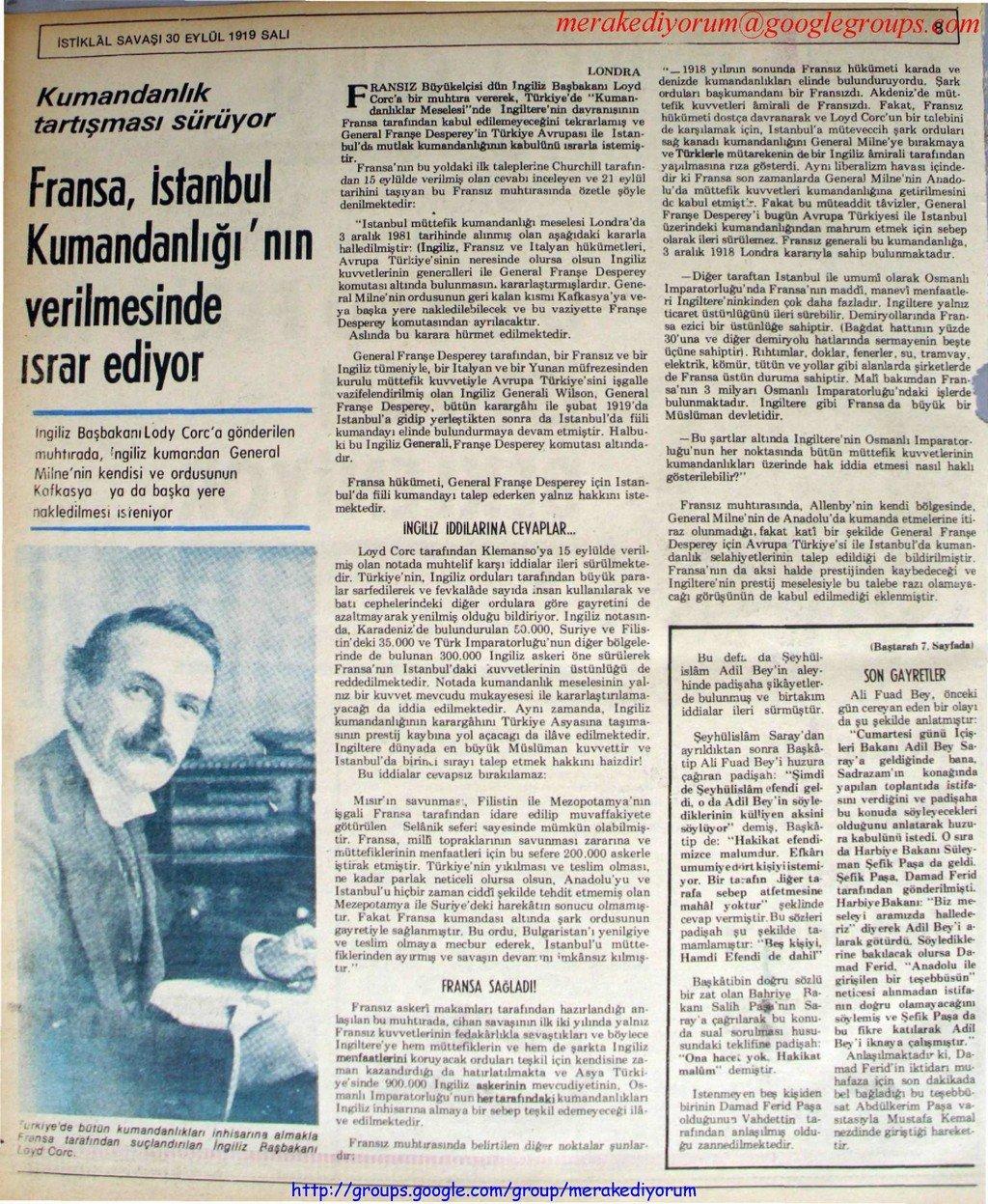 istiklal savaşı gazetesi - 30 eylül 1919