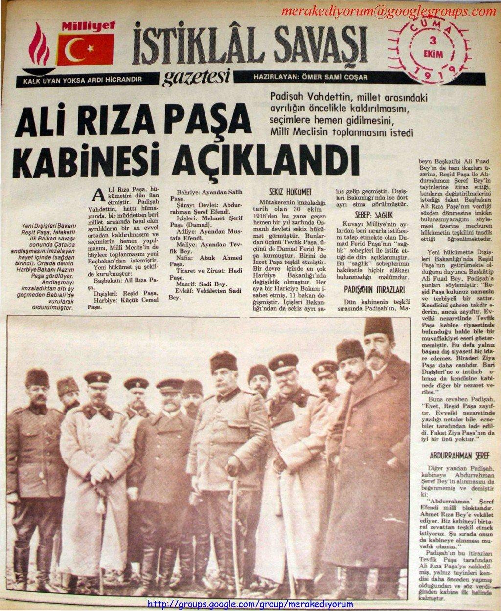 istiklal savaşı gazetesi - 3 ekim 1919
