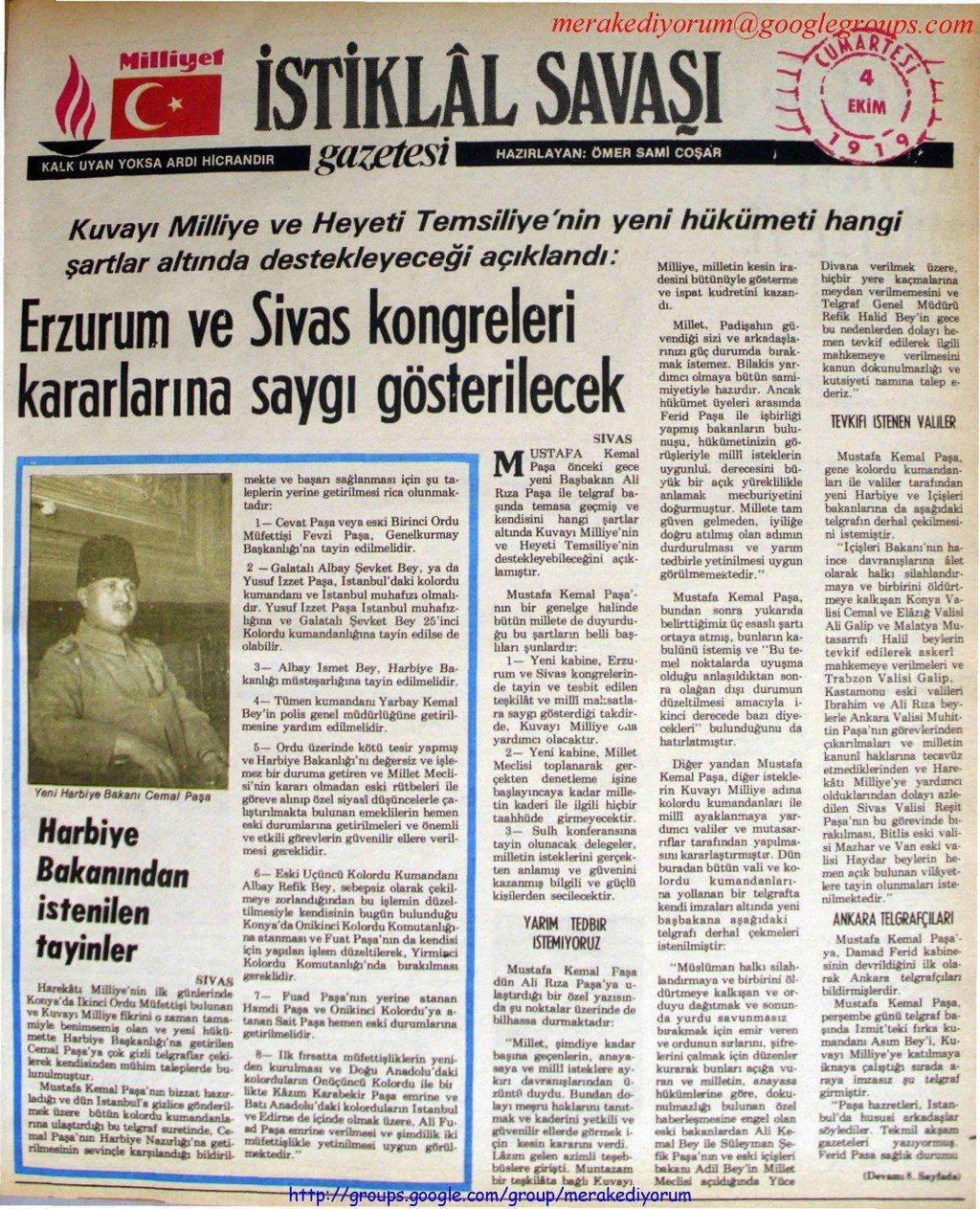 istiklal savaşı gazetesi - 4 ekim 1919