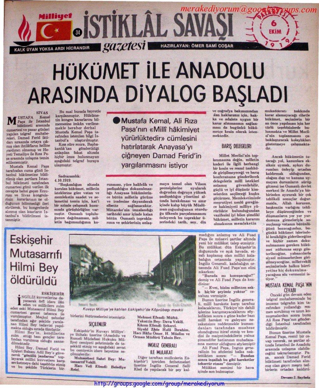 istiklal savaşı gazetesi - 6 ekim 1919