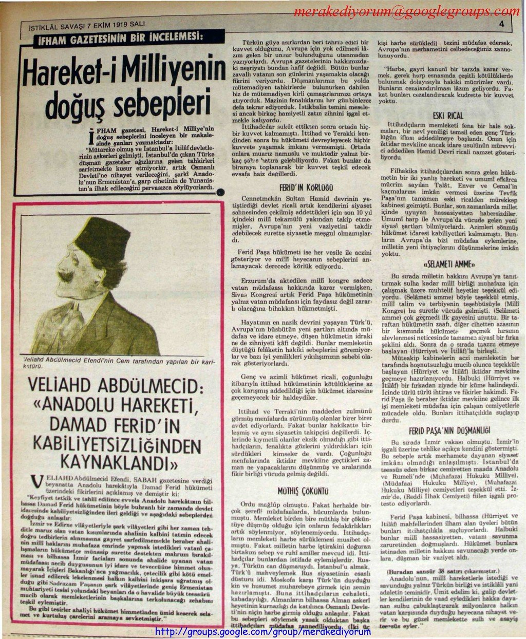 istiklal savaşı gazetesi - 7 ekim 1919