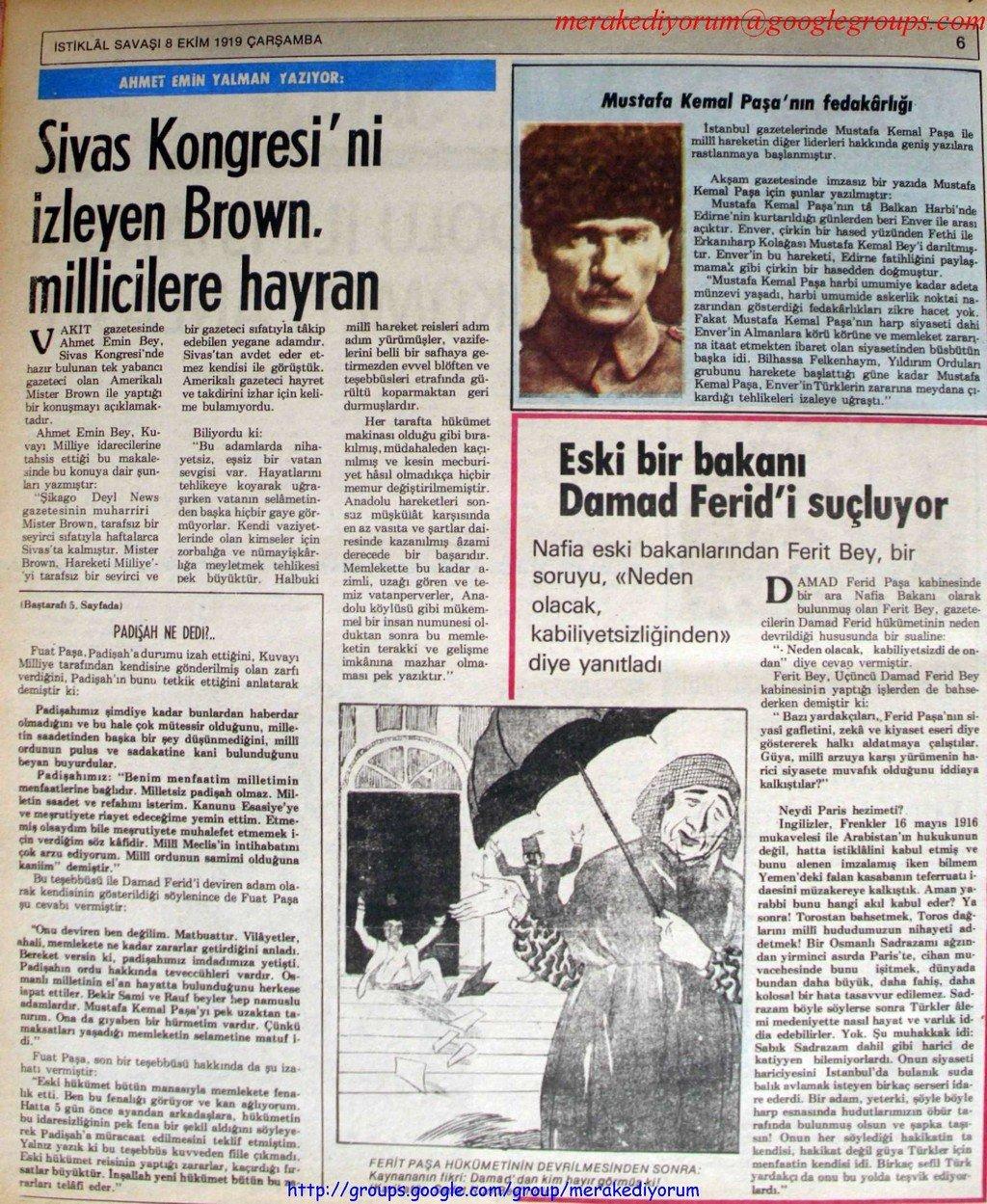 istiklal savaşı gazetesi - 8 ekim 1919