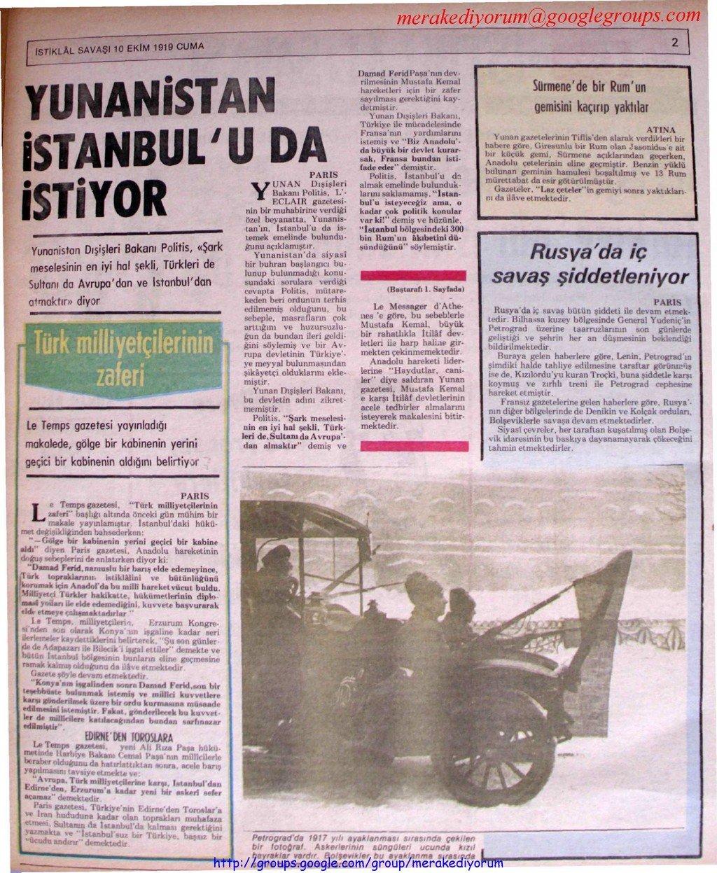 istiklal savaşı gazetesi - 10 ekim 1919