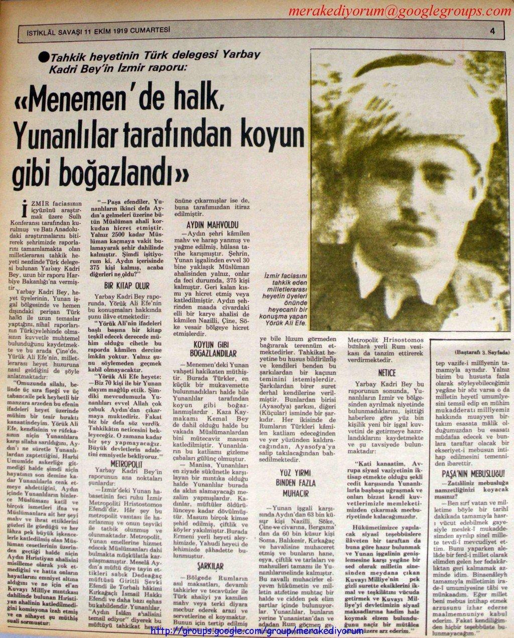 istiklal savaşı gazetesi - 11 ekim 1919