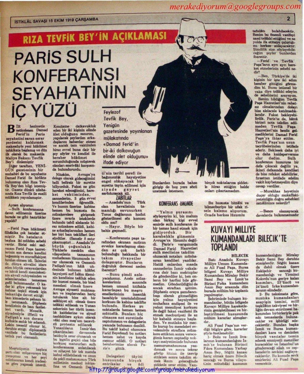 istiklal savaşı gazetesi - 15 ekim 1919