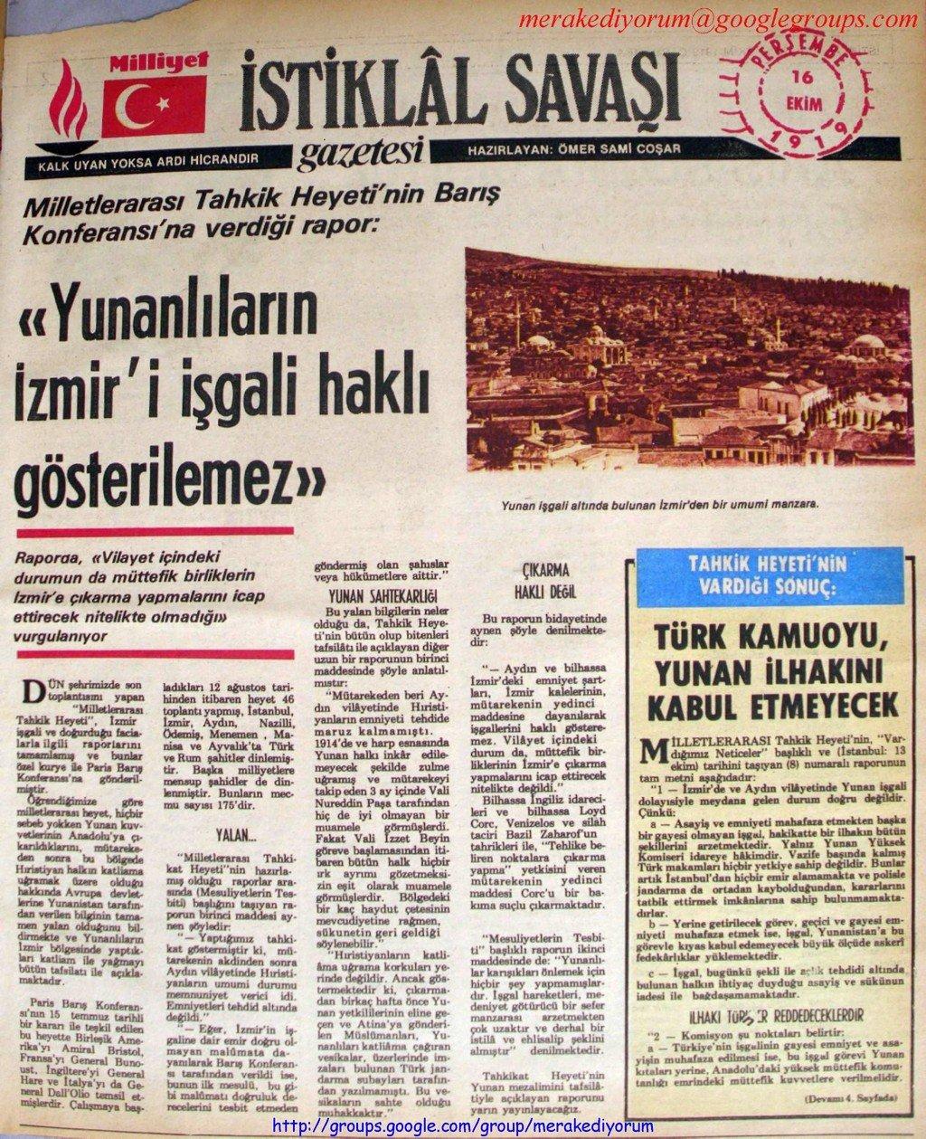 istiklal savaşı gazetesi - 16 ekim 1919