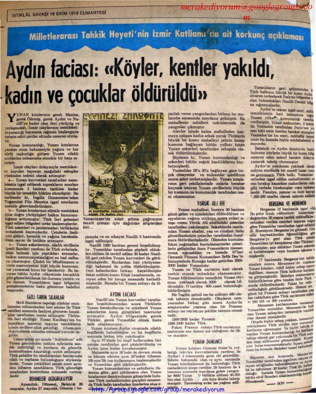 istiklal savaşı gazetesi - 18 ekim 1919