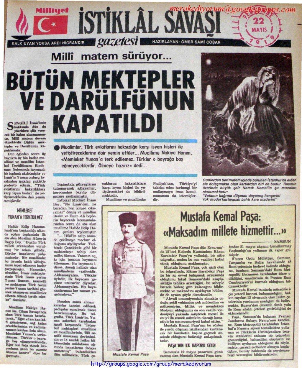 istiklal savaşı gazetesi - 22 mayıs 1919