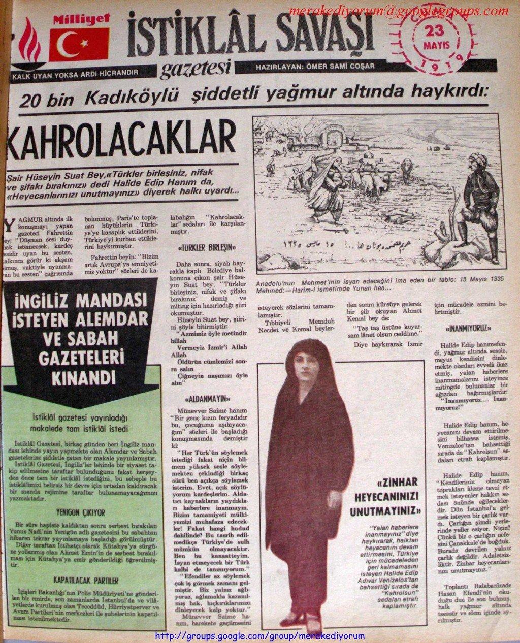 istiklal savaşı gazetesi - 23 mayıs 1919