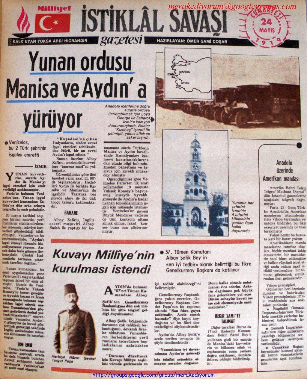 istiklal savaşı gazetesi - 24 mayıs 1919