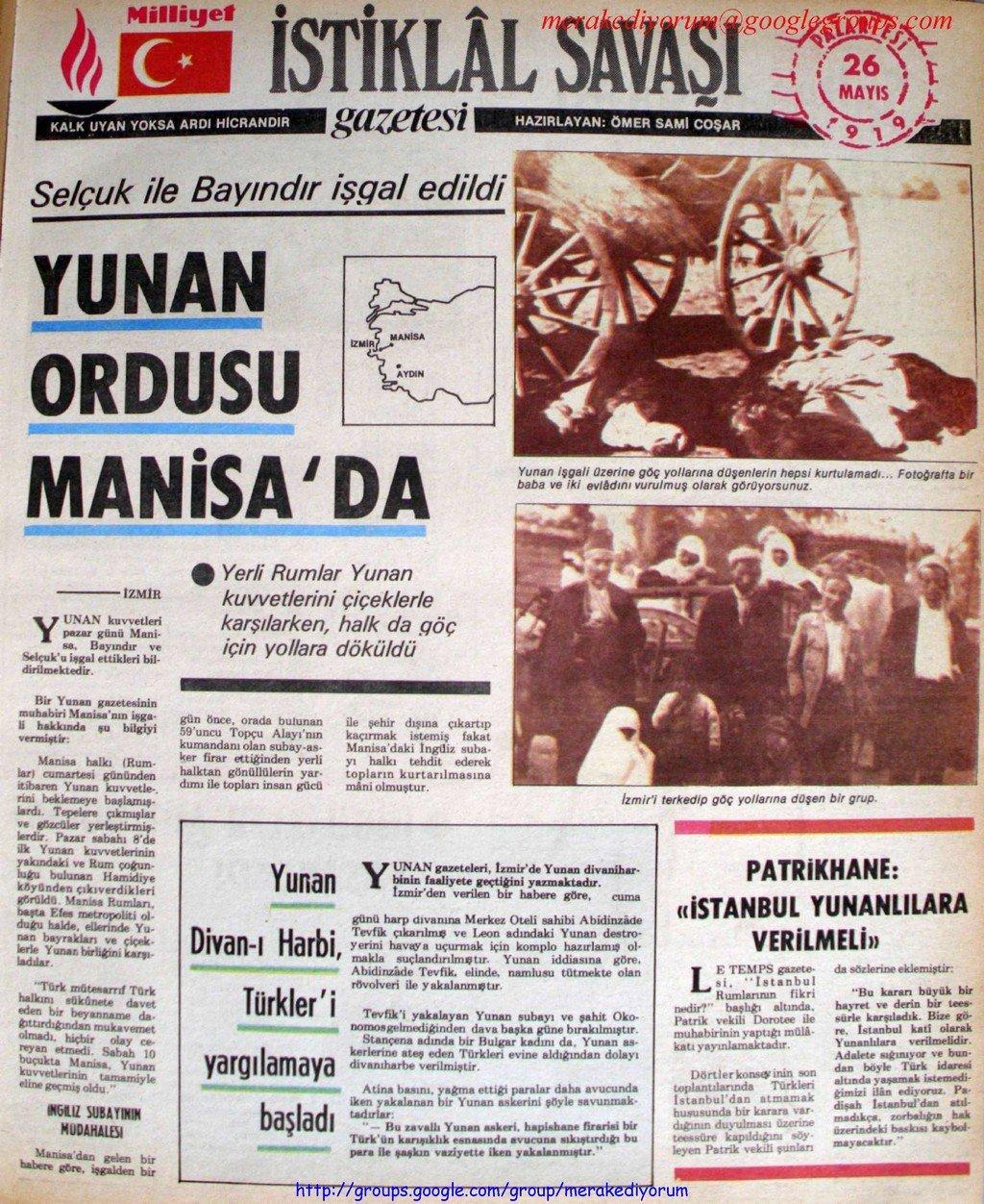 istiklal savaşı gazetesi - 26 mayıs 1919