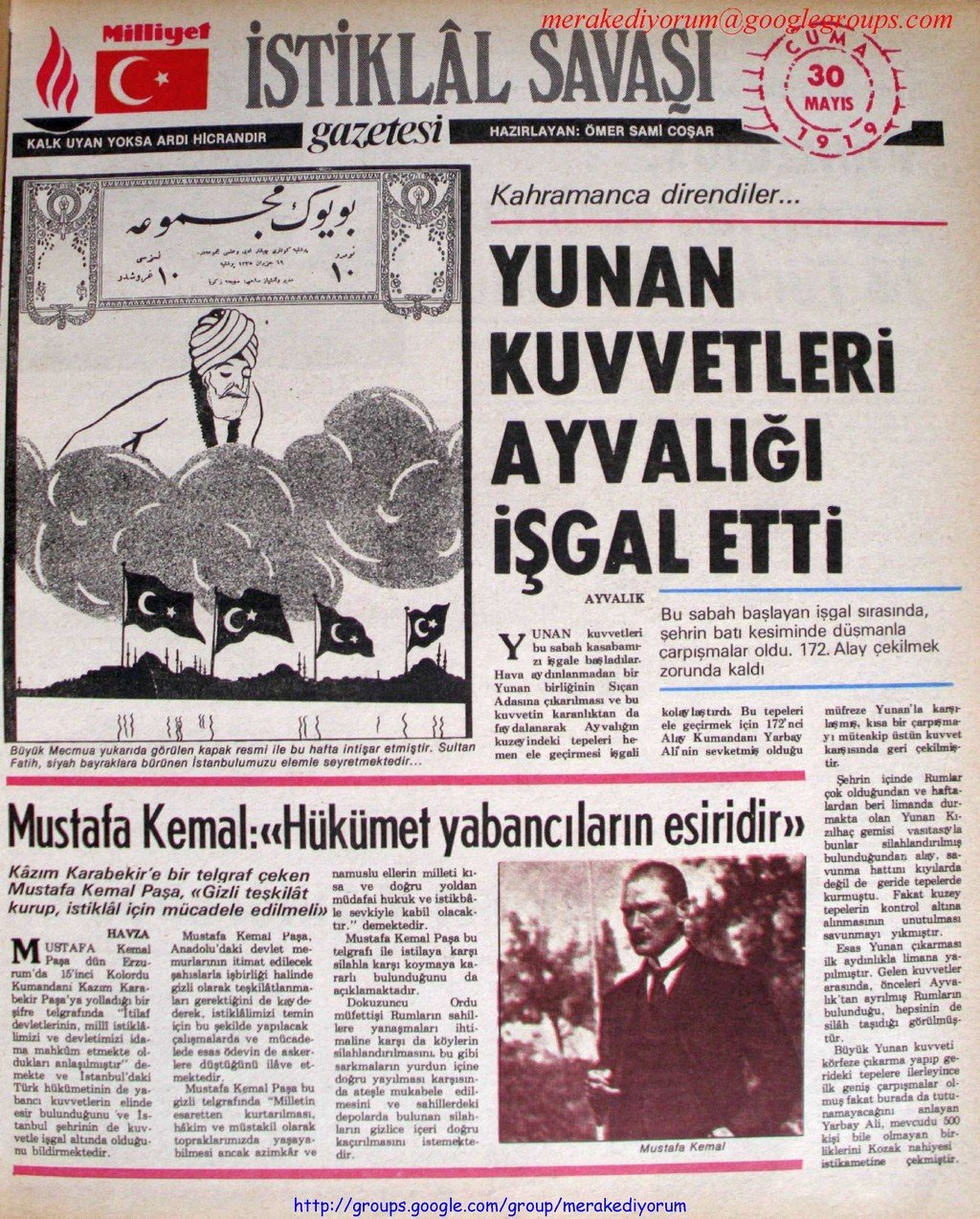istiklal savaşı gazetesi - 30 mayıs 1919