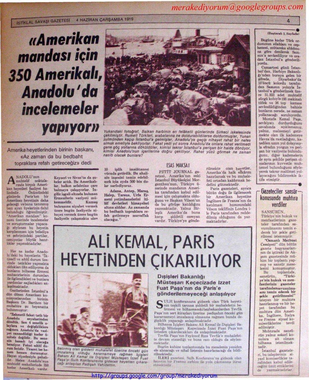 istiklal savaşı gazetesi - 04 Haziran 1919
