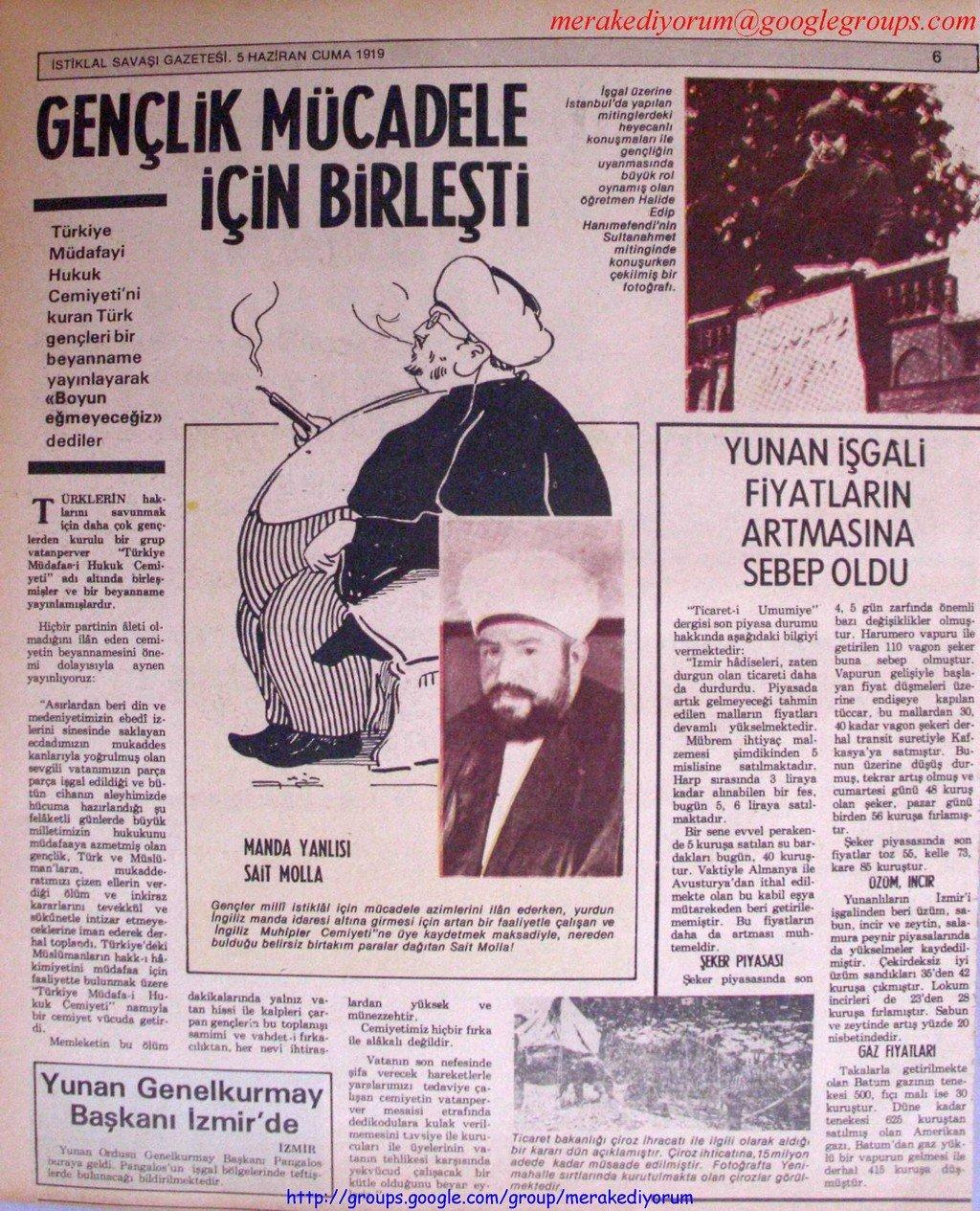 istiklal savaşı gazetesi - 05 Haziran 1919