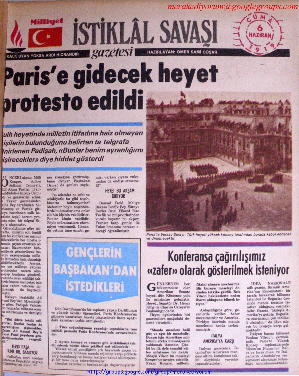 istiklal savaşı gazetesi - 06 Haziran 1919